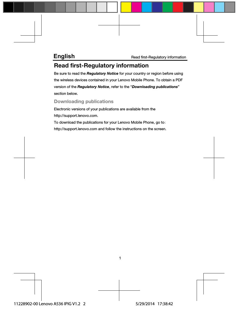 Read first-regulatory information, English