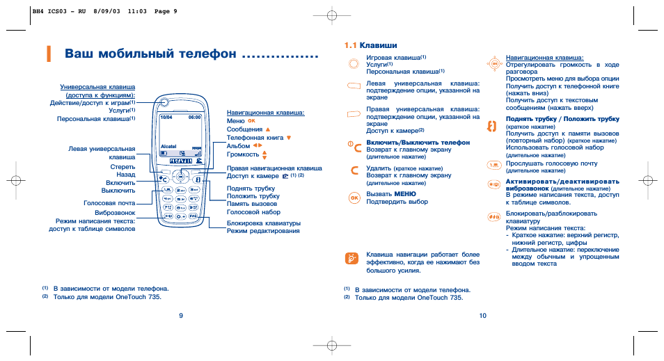 Ваш мобильный телефон, 1 клавиши