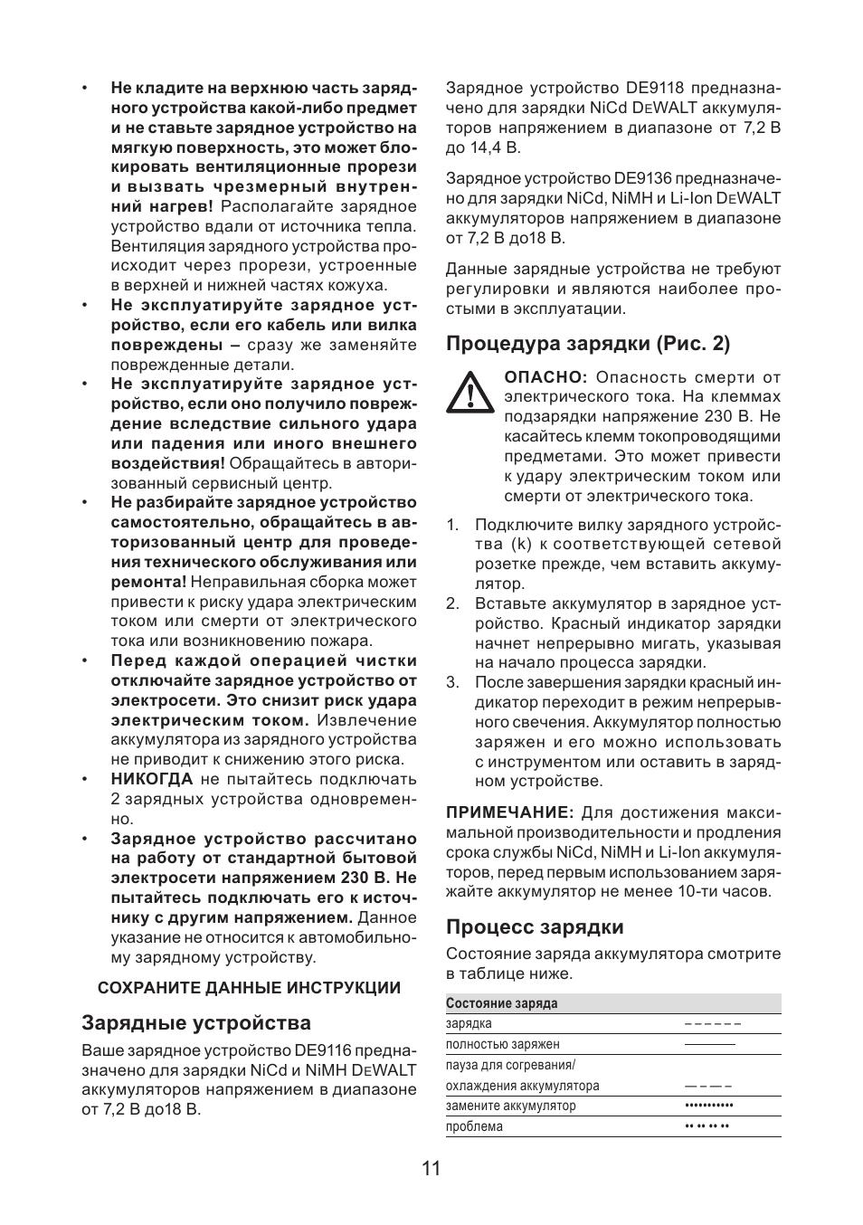 Зарядные устройства, Процедура зарядки (рис. 2), Процесс зарядки