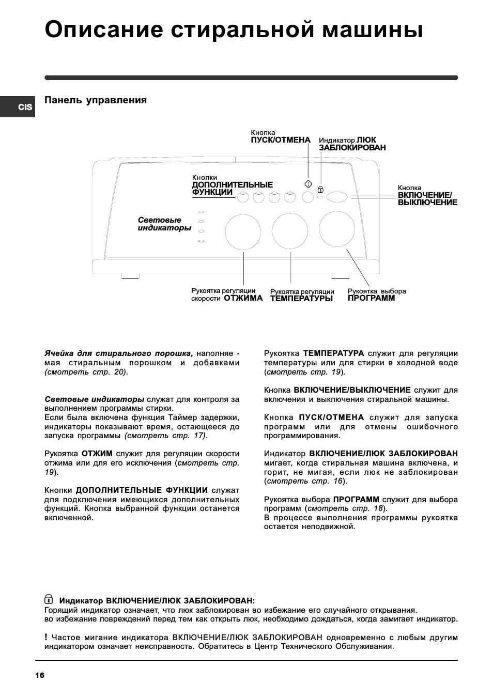 Описание стиральной машины, Панель управления