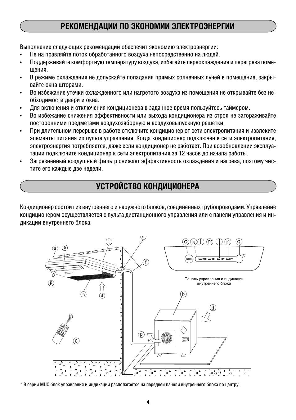 Рекомендации по экономии электроэнергии, Устройство кондиционера