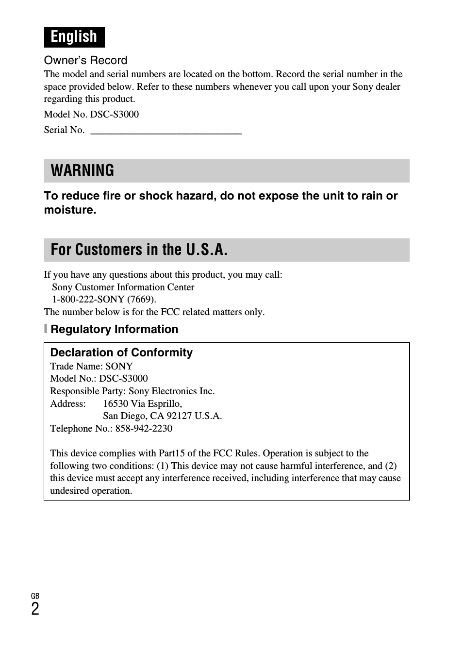 English, English warning for customers in the u.s.a