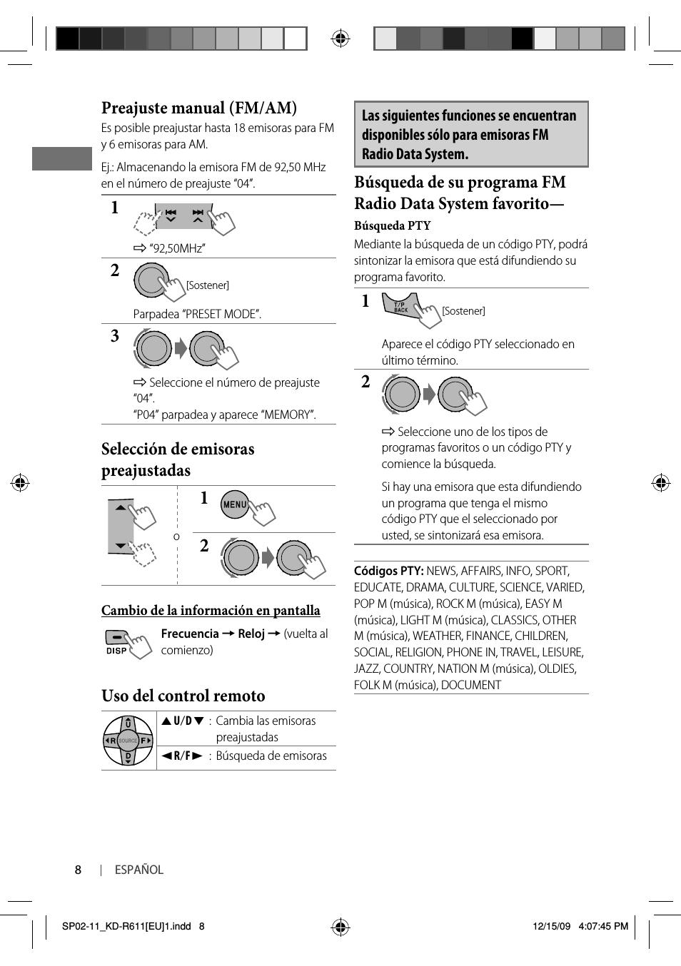 Preajuste manual (fm/am), Selección de emisoras preajustadas, Uso del control remoto