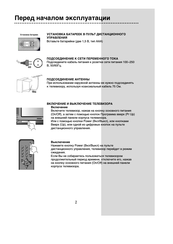 Перед началом эксплуатации, Подсоединение к сети переменного тока, Подсоединение антенны