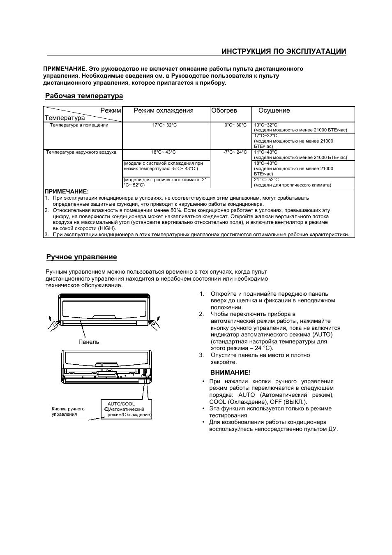 Инструкция по эксплуатации, Рабочая температура, Ручное управление