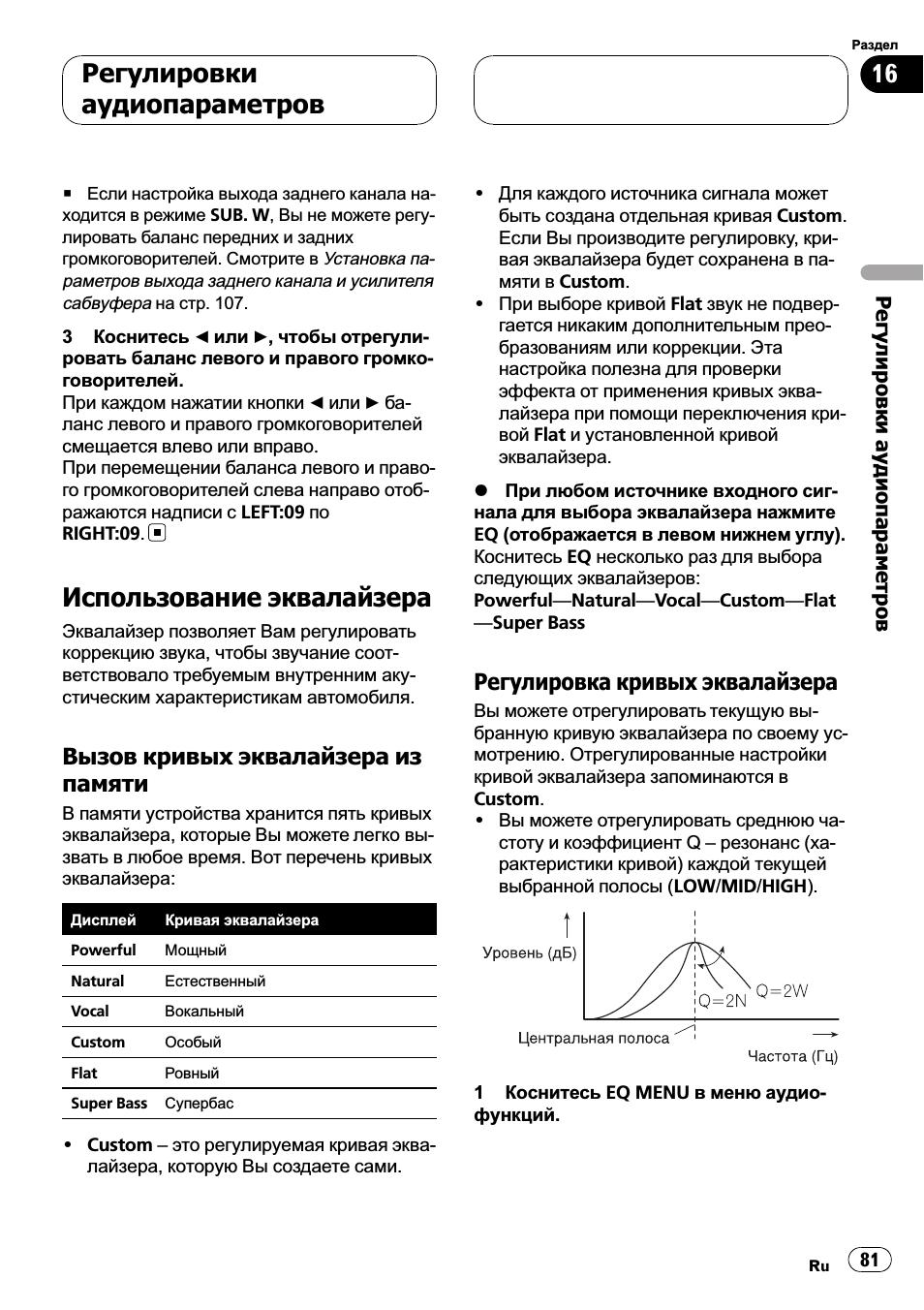 Использование эквалайзера 81, Использова, Использование эквалайзера
